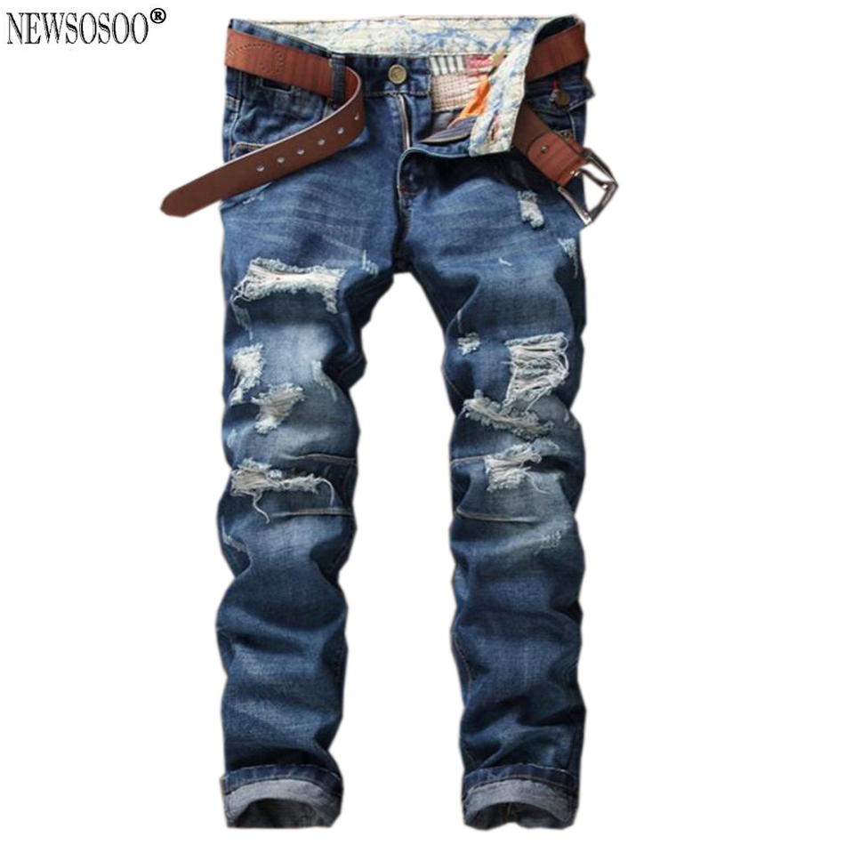 ФОТО Newsosoo Men's casual holes ripped jeans for man Slim fit straight washed denim pants Long trousers spijkerbroek mannen MJ51