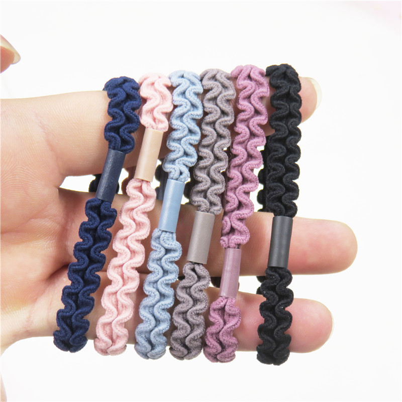 12PCS/LOT Simple Lace 6 Colors Elastic Hair Bands For Girls Bohemian Headband Scrunchy Korean Bow Kid Hair Accessories For Women