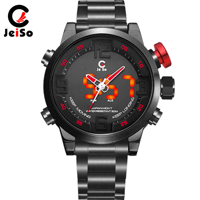 Dual display sport watch men LED digital watches full steel waterproof military luminous wrist watch alarm week quartz clock hot oulm military digital dual time watch men leather strap chronograph calendar alarm waterproof led electronic wrist watches 2018