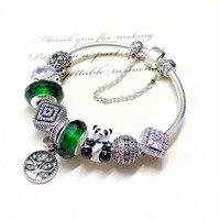 Хорошее качество ручной Зеленый Кристалл взгляд очарование и симпатичные панды 925 Серебро Браслеты