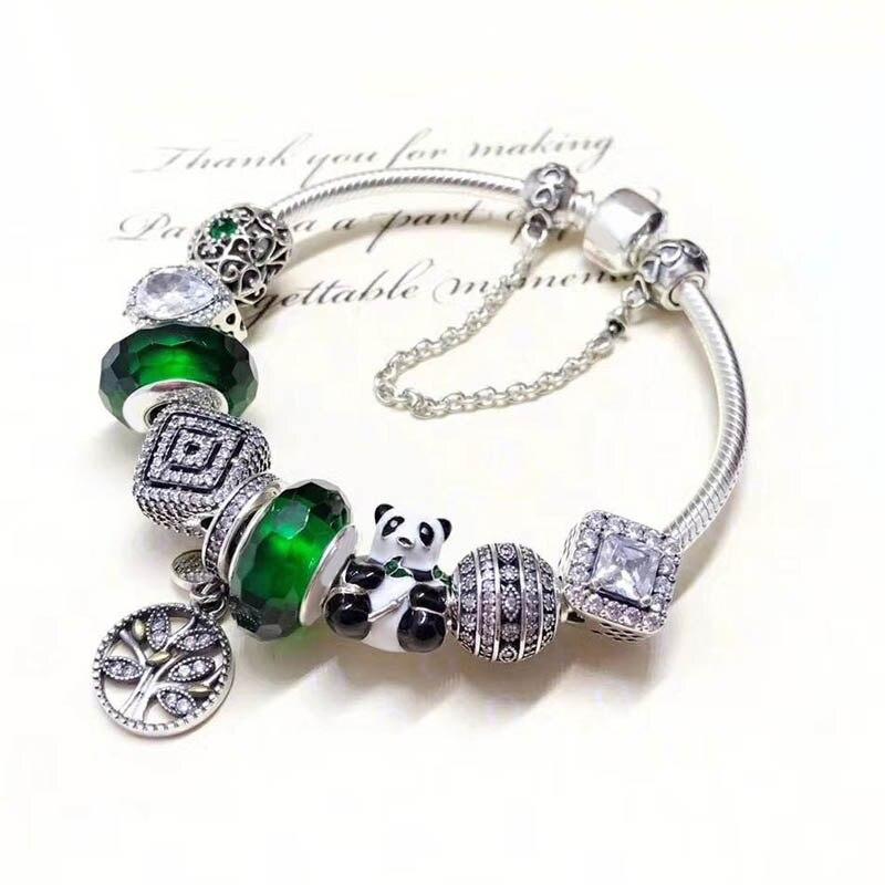 Belle Qualité À La Main Vert Série Mignon 925 Sterling Argent Panda bracelets porte-bonheur pour Femmes Bijoux En Argent