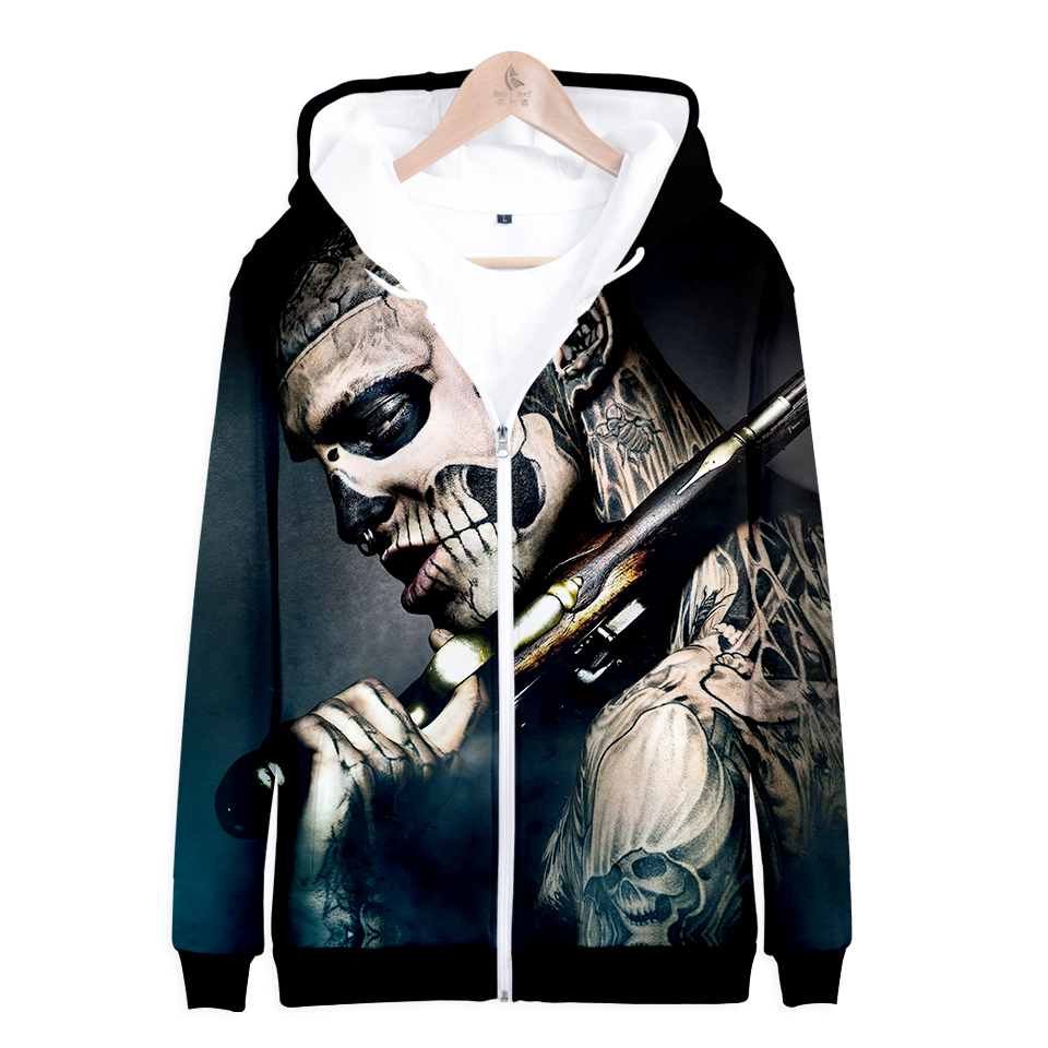 Cool And Fashion Zombie Boy Funny 3D Hoodies Women Spring Rick Genest Long Sleeve Funny Hoodies Print Popular Soft Clothes