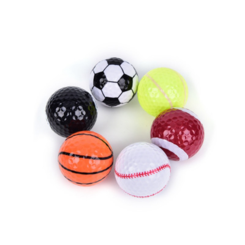 6PCs Novelty Colorful Sports Golf Balls Golf Game Ball Strong Resilience Force Sports Practice Funny Balls Outdoor Training Ball