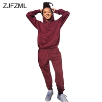 Casual Two Piece Tracksuit For Women's Suit Autumn Winter Outfits Long Sleeve Hooded Loose Sweatshirt And Pockets Long Trouser