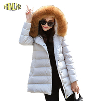 Winter Women Fashion Jacket High quality Medium long Solid color Female Outerwear Fashion Hooded Fur collars Cotton coat WK348