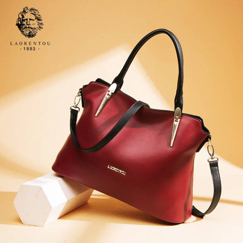 LAORENTOU Cowhide Leather Shoulder Bag Ladies Leather Luxury Handbags Women Bags Designer Ladies Shoulder Bag Casual Tote