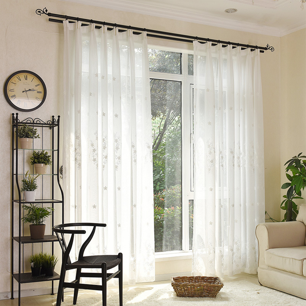 Embroidered White Voile Window Sheer Luxury Tulle Curtains Window ...