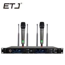 ETJ Marca 900D Verdadeira Diversidade Profissional Duplo UHF Microfone Sem Fio 2 Transmissor 4 Receptor de Microfone Performance de Palco