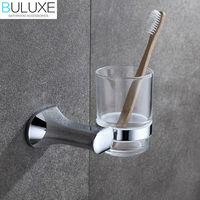 BULUXE Brass Bathroom Accessories Toothbrush Holder Wall Mounted Bath Acessorios de banheiro Cup Holder HP7719