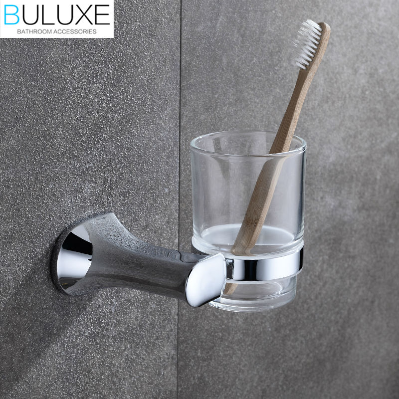 BULUXE Brass Bathroom Accessories Toothbrush Holder Wall Mounted Bath Acessorios de banheiro Cup Holder HP7719 allen roth brinkley handsome oil rubbed bronze metal toothbrush holder