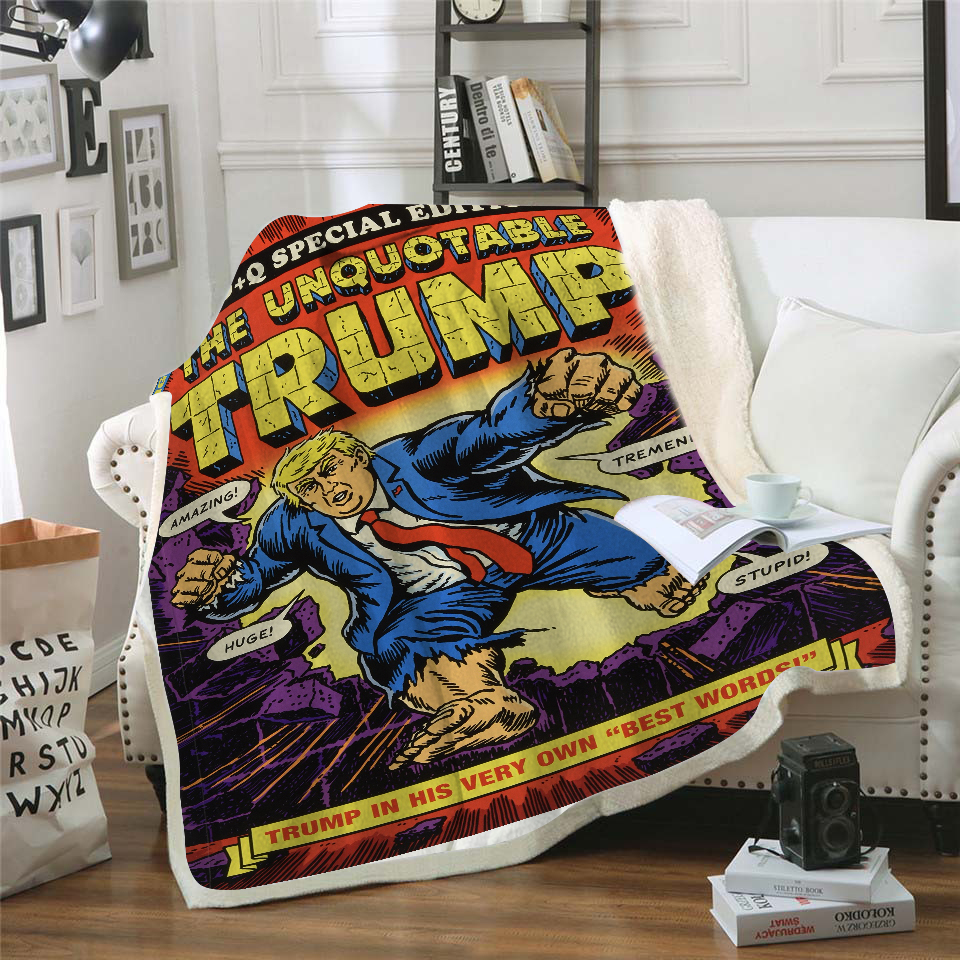 Trump Bedspread Throw Blanket Poster Adult Plush Cover Soft Office Quilts Brand Travel Picnic 3D Printed DropShip