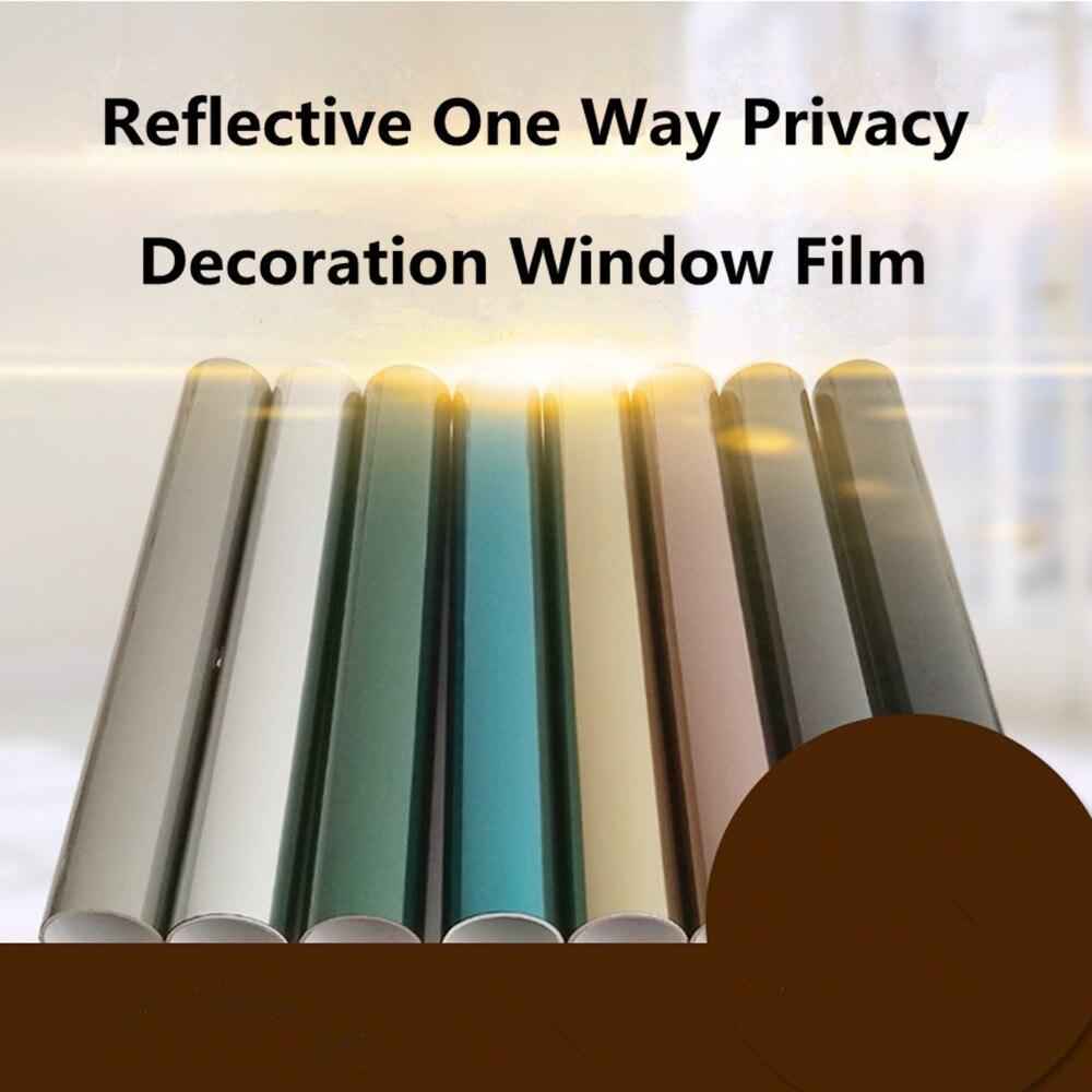 0.7 m x 10 m Solaire Teinte Blackout Fenêtre Film Autocollants Coloré UV Réfléchissant PET Film Une Façon Vie Privée Décoration pour Fenêtre En Verre