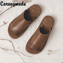 Careaymade-Summer pure handmade shoes,Art all-match genuine leather simple casual flat sandals,Women sandy beach sandals