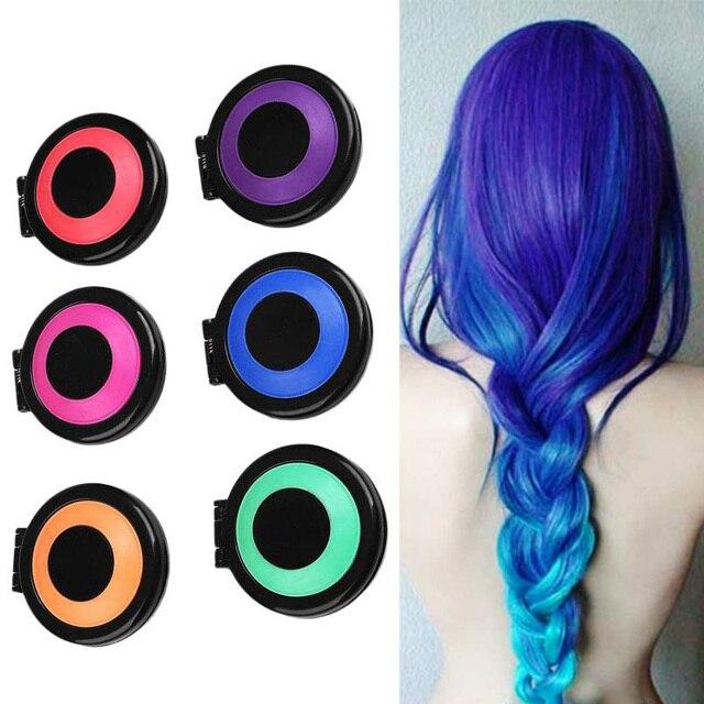 c30a122bc 6 colores tinte de pelo cabello temporal tiza en polvo de salón de pelo  Color DIY