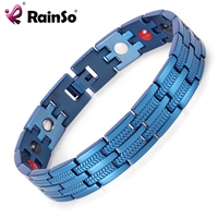 Rainso Men Bracelet Healing 4 Elements Magnetic Stainless Steel Bracelets 8 5 OSB 689BLFIR With Blue