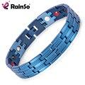 """De Rainso Hombres Pulseras de Acero Inoxidable Magnético Pulsera Healing 4 Elementos 8.5 """"OSB-689BLFIR Con Recubrimiento Azul Cadena de La Mano"""