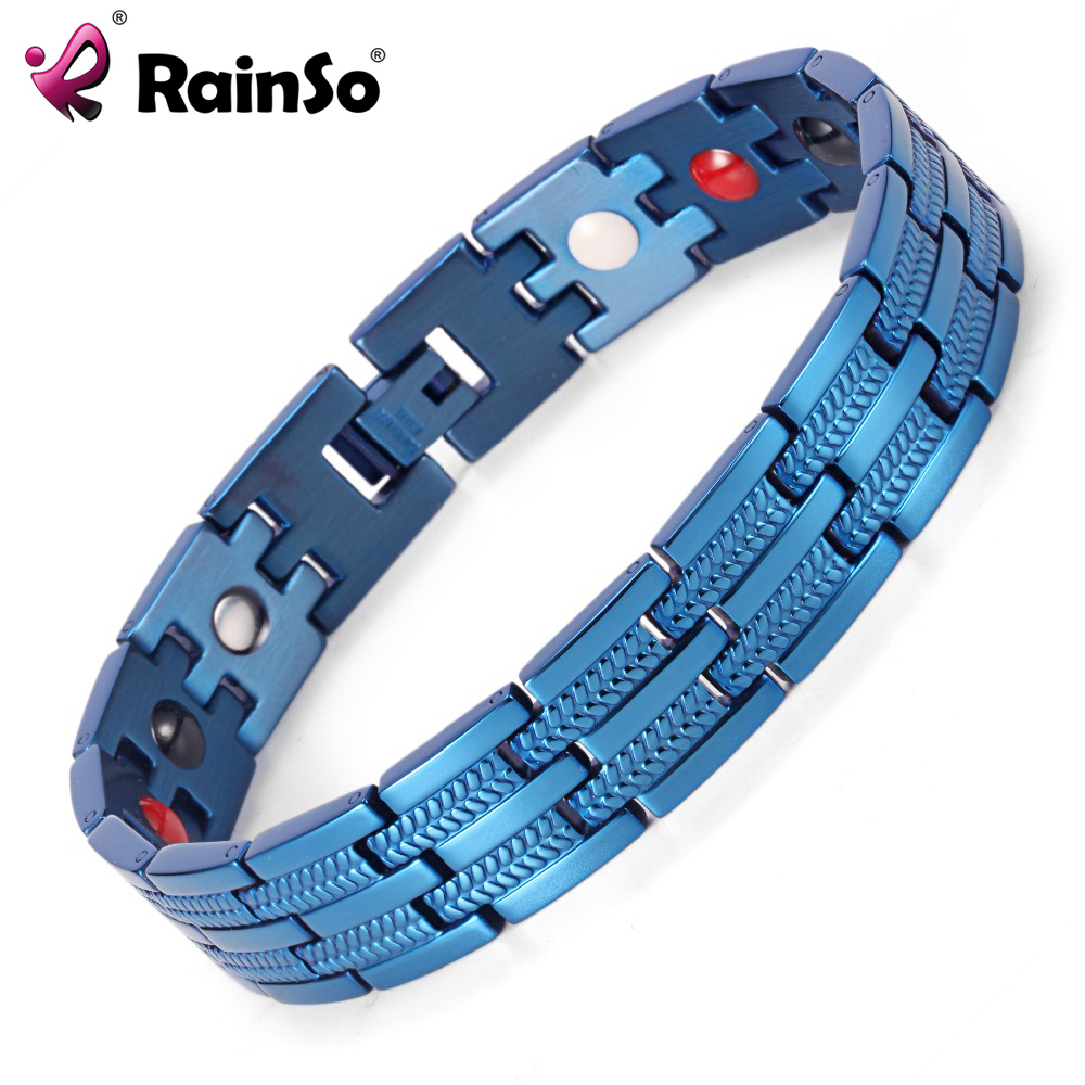 Rainso Men Bracelet Healing 4 Elements Magnetic Stainless Steel Bracelets 8.5
