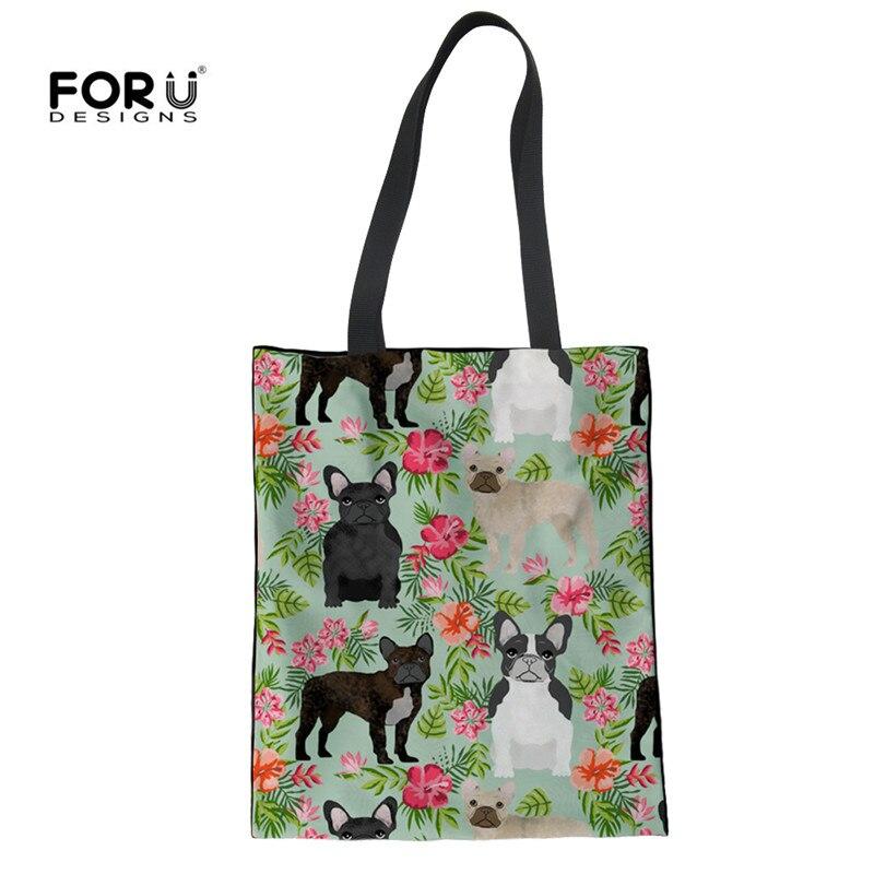FORUDESIGNS/белье дамы Recycle сумки милые питбуль с цветочным принтом многоразовые Бакалея сумка женская Для женщин Recycly сумки
