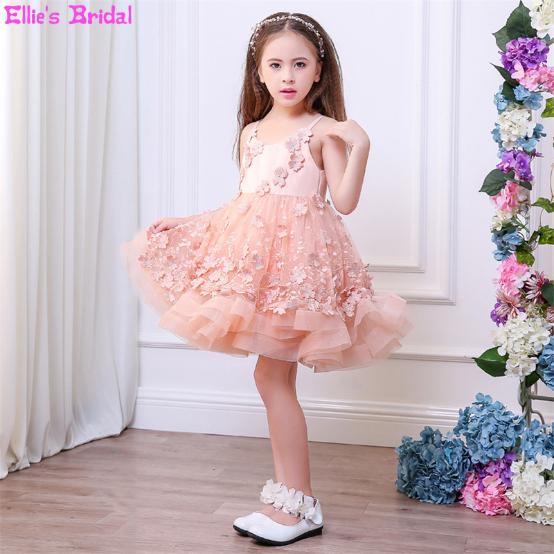 Lace Tulle Vest Flower Girls Dresses for Wedding Ball Gowns Kids Pageant First Communion Dresses for Girls Party Princess Dress children flower girl dresses white lace embroidery kids party wedding pageant ball gowns for girls first communion dress custom