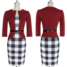 FAAJ NEW Women's Sexy Bodycon Check Tartan Style Business OL Pencil Dress red XL