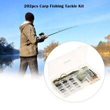 Lixada 202pcs Carp Fishing Tackle Kit Clips Rig Rubber Tubes Rolling Swivels Hooks  Lead Core Terminal Rigs Fish Accessary