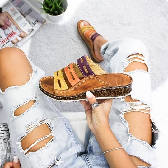 LASPERAL new summer women sandals 3 Color stitching sandals ladies open toe casual shoes Platform wedge slides beach woman shoes
