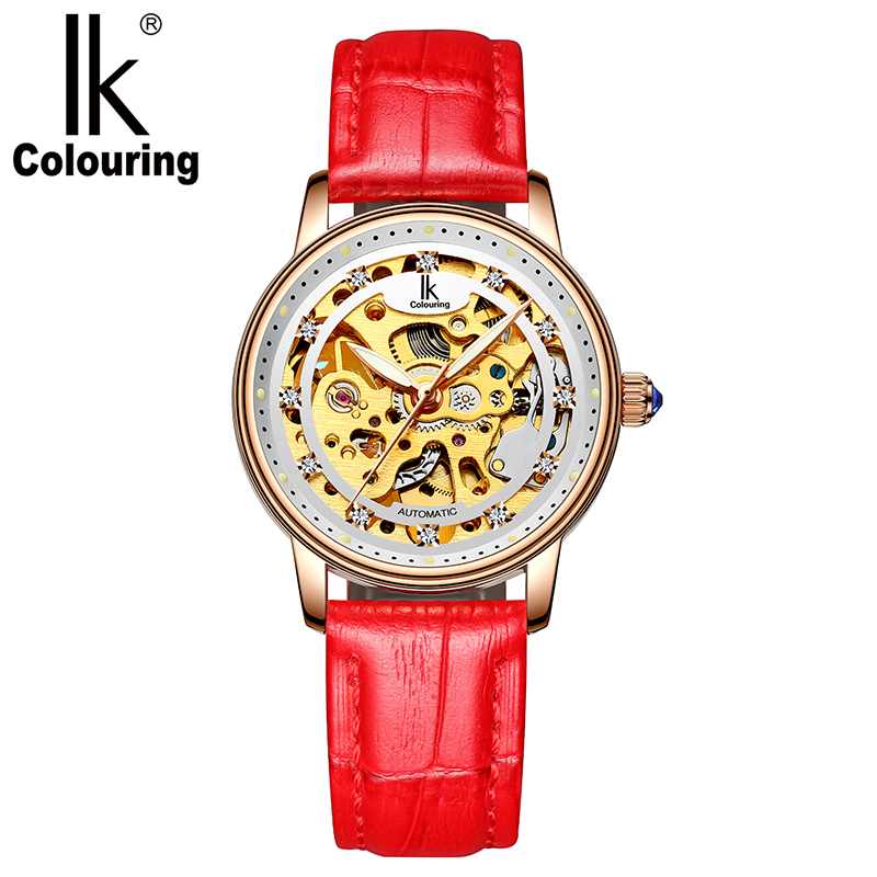 IK Female table double-sided hollow automatic mechanical watch diamond fashion trendy mechanical watch waterproof watch orkina kc023 double sided hollow automatic mechanical men s wrist watch black silver coppery