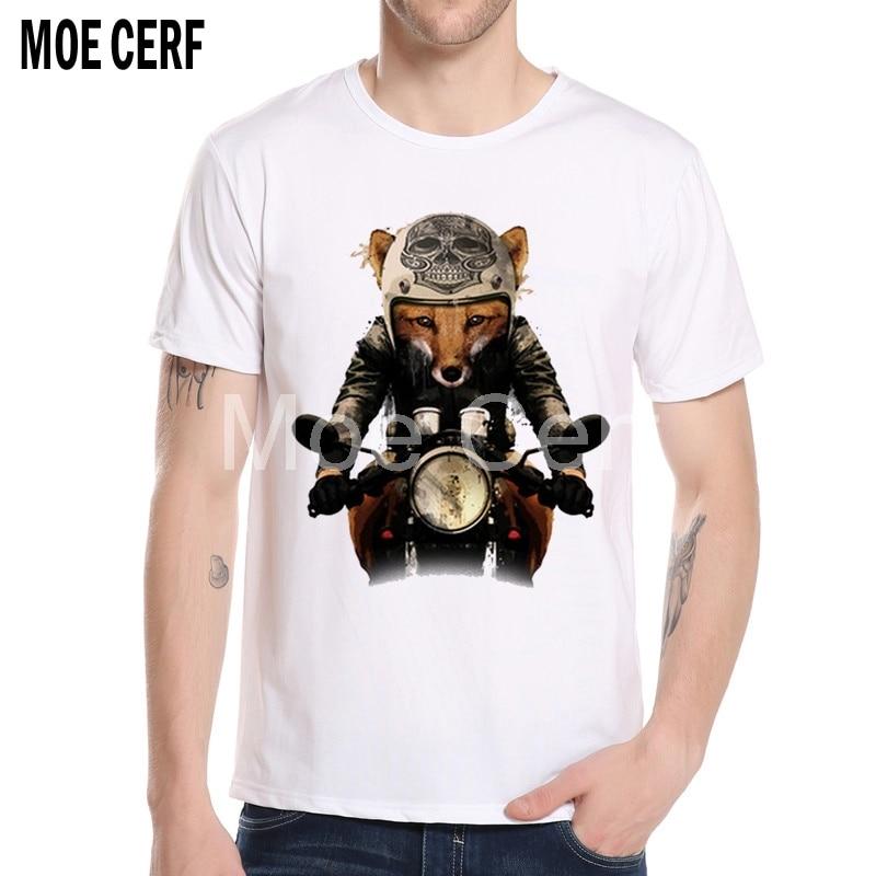 Skull Fox Riding On Moto T Shirt Summer Mens New Fashion Brand T Shirts Hip Hop Funny O-Neck Geek Tee Shirt Homme L6-H-1