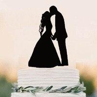 Свадебный торт Топпер-первый поцелуй Топпер-акриловые торт Топпер силуэт, жених и невеста-Mr & Mrs торт Топпер