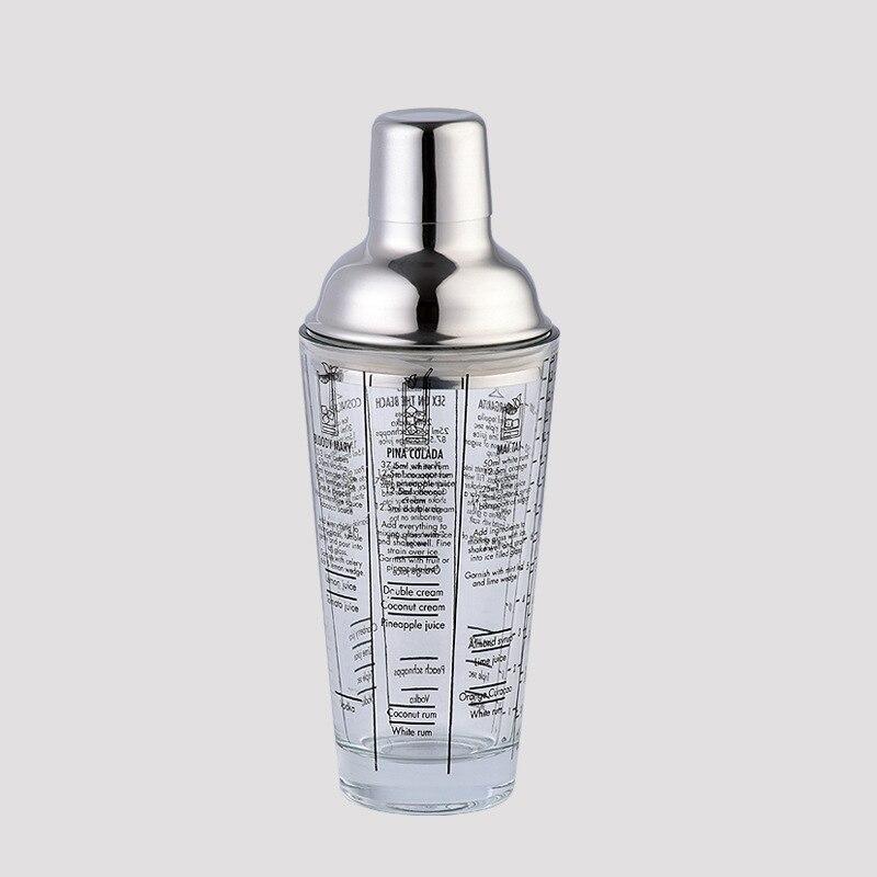 1 Uds. bar copa de vino mezcla Master patrones de escala transparente cóctel 400ML inoxidable Bar botella herramientas agitador vidrio 304