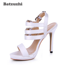 Batzuzhi 2018 Brand New Luxury Women Gladiator Sandal Shoes Silk 12cm Heels Slingback White Summer Shoes, Big Size 35-43