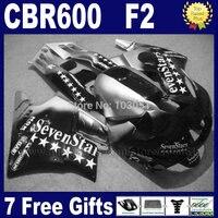 Motorcycle fairings for Honda CBR600 F 1991 1992 1993 1994 CBR 600 F2 CBR600 F2 91 92 93 94 black sevenstars fairing set+ tank