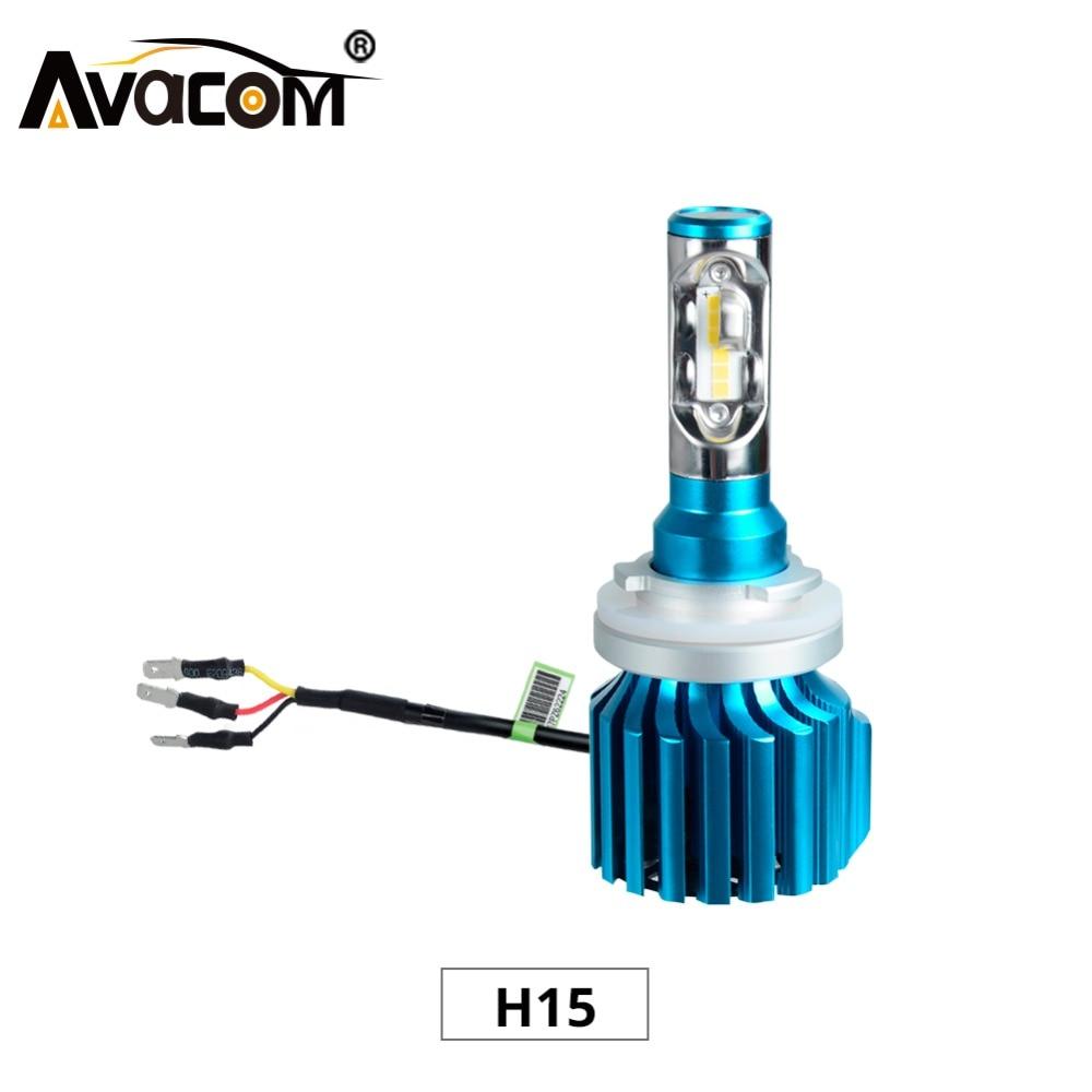Avacom 2Pcs H15 12000Lm Car Bulb 12V 24V 6500K White 72W Luces LED Para Auto Bombillas LED Para Automovil Luces LED Coche
