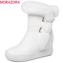 MORAZORA 2020 new arrival ankle boots women round toe simple zipper winter boots platform wedges shoes woman warm snow boots