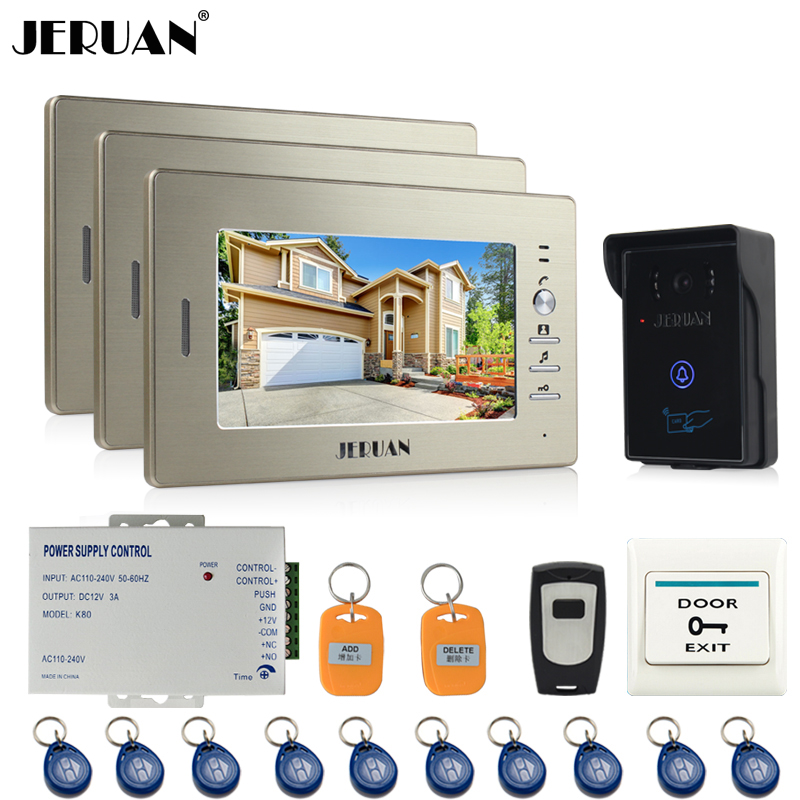 JERUAN 7`` LCD Screen Video Intercom Video Door Phone System 3 monitors + 700TVL RFID Access Waterproof Touch key Camera +Remote jeruan home wired 7 lcd video door phone intercom system 700tvl rfid waterproof touch key password keypad camera free shipping
