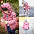 2016 Winter Teenage Girls Down Coats Candy Color Kids Hooded Parkas Jacket For Girl Children Warm Thicken Outwear Clothing