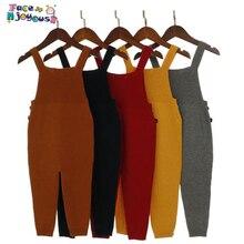 New Children Kids Overalls Harem Pants Boys Girls Pocket Knitted Overalls Jumpsuits Baby Clothing Jumpsuits Girls Overall 1-5T