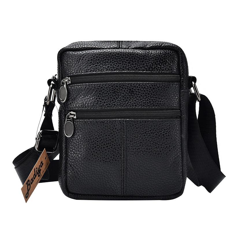Det första lageret av Cow Leather Mäns Business Messenger Väskor Zipper Design Solid Black Äkta Läder Axelväska för män