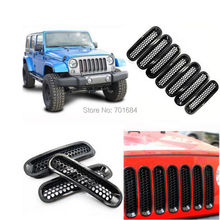 Black Mesh Grille Grid Guard Inserts Trim Cover For Jeep Wrangler JK 07 08 09 10 11 12 13 14 2015 [QPA193]
