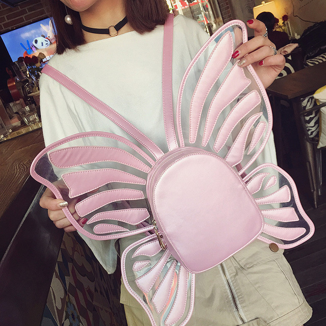 Magic Moment backpack bags 2017 young girls wings new butterfly bat anime wings hollowout pu leather children kids bags