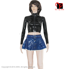 Sexy two Piece Sets Latex skater mini skirt button Rubber jacket zipper top suit long sleeves black blue bodycon plus size XXXL