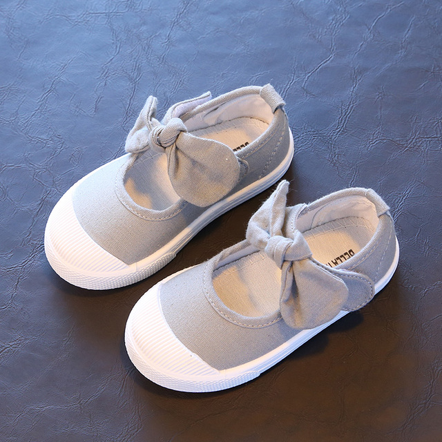 Bekamille Spring 2018 Children Canvas Casual Shoes Kids Lovely Bow Flat Heels Shoes Girls Princess Solid Color Sneakers