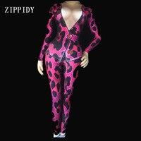 3 Kolory Rose Niebieski Leopard Wydrukowano Body Etap Sexy Legginsy Jeden Kawałek Klub Nocny Strój Wokalistka Kostium