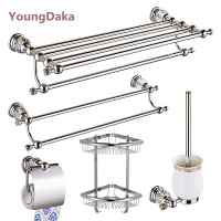 Bathroom Accessories Chrome Crystal Towel Ring Toilet Paper Holder Cup Holder Towel Bar Robe Hook Sanitary Ware Suite