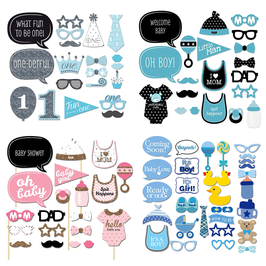First 1 birthday party decorations Kids Photo Booth Props Photography mask paper Card boy girl baby shower Party Decoration