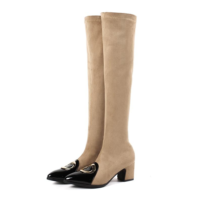 Glissent Noir Sur Med Femmes Bottes Eshtonshero gris Bout 43 Le Chaussures Genou Pointu Boot Khaki 34 Moto Printemps Talons Femme Dames noir Taille OEYYqwz