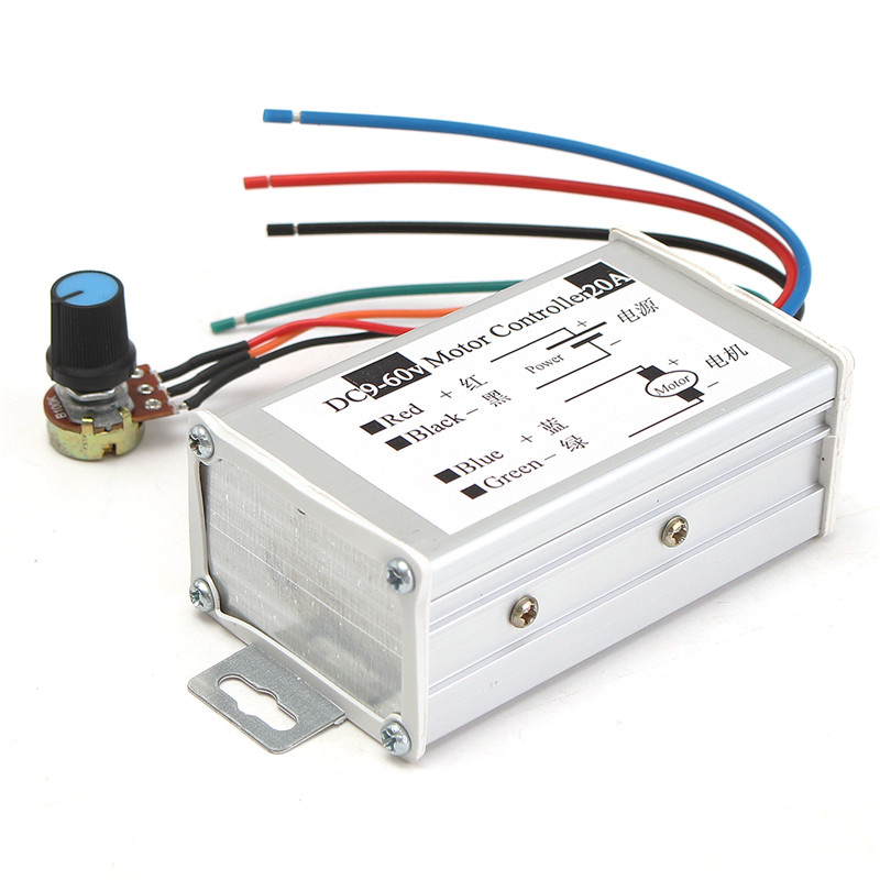 60V Max 20A PWM Motor Stepless Variable Speed Control Controller Switch DC9V
