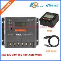 EPEVER VS4548BN 45A 45amps Бесплатная доставка низкая цена контроллер солнечных панелей кабель USB и MT50 метр функция bluetooth eBOX