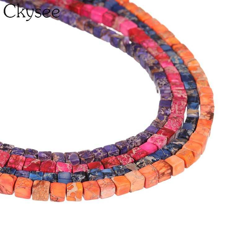 Ckyse naturalne Steone osadów Imperial stworzył kamień koraliki luźne kwadratowy kształt koraliki modułowe dla Diy komponenty do wyrobu biżuterii