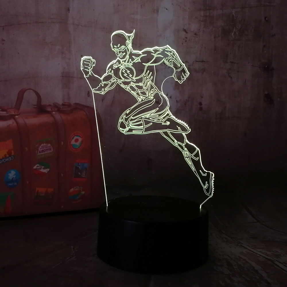 NEW DC Superhero The Flash Cool 7 Color Change Desk Lamp 3D RGB LED Night Light Remote Child Novelty Christmas Gift Home Decor